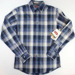 Wrangler Slim Fit Plaid Button Down Shirt Flex